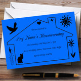 Dark Blue Design Housewarming Party Customised Invitations