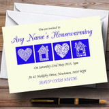 Pale Yellow And Blue Housewarming Party Customised Invitations