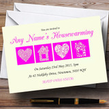 Pale Yellow And Magenta Housewarming Party Customised Invitations