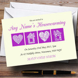 Pale Yellow And Purple Housewarming Party Customised Invitations