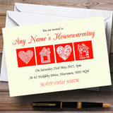 Pale Yellow And Red Housewarming Party Customised Invitations