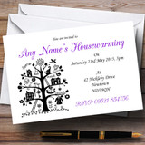 Purple White And Black Housewarming Party Customised Invitations