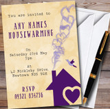 Yellow & Purple Heart House Customised Housewarming Party Invitations