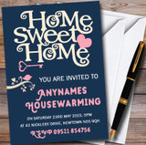 Navy Blue Home Sweet Home Customised Housewarming Party Invitations