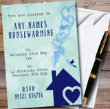 Green & Blue Heart House Customised Housewarming Party Invitations