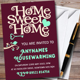 Wine Red Home Sweet Home Customised Housewarming Party Invitations