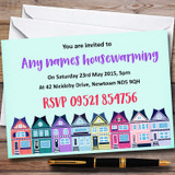 Green Colourful Houses Customised Housewarming Party Invitations