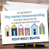 Doodle Beach Hut Customised Housewarming Party Invitations