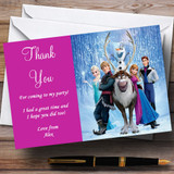Frozen Pink Customised Children's Birthday Party Thank You Cards