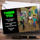 Minecraft Party Thank You Cards Customised Children's Birthday Party Thank You Cards