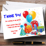 Party Thank You Cards Hat & Balloons Customised Children's Party Thank You Cards