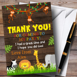 Any Age Wood Jungle Animals Party Thank You Cards