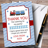 Blue Stripy Train Party Thank You Cards