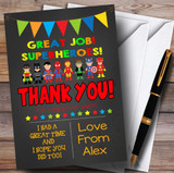 Chalk Bunting Superhero Party Thank You Cards