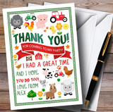Fun On The Farm Animals Party Thank You Cards
