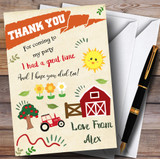 Fun On The Farm Party Thank You Cards