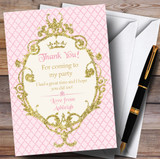 Gold & Pink Crown Princess Party Thank You Cards