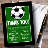 Grass & Black Football Party Thank You Cards