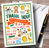 Jungle Animals Party Thank You Cards