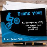 Blue BMX Bike Customised Party Thank You Cards