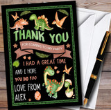 Black Dinosaur Watercolour Customised Children's Birthday Party Thank You Cards