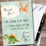 Green Watercolour Dinosaur Customised Children's Birthday Party Thank You Cards