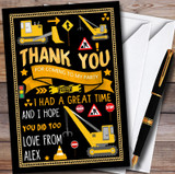Black Digger Construction Customised Children's Birthday Party Thank You Cards