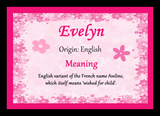 Evelyn Name Meaning Placemat