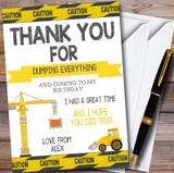 Dump Everything Digger Construction Children's Birthday Party Thank You Cards