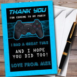 Video Game Gaming Blue Customised Children's Birthday Party Thank You Cards