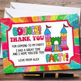 Rainbow Bouncy Castle Customised Children's Birthday Party Thank You Cards