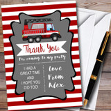Red Stripes Fireman Fire Engine Children's Birthday Party Thank You Cards