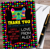 Black Colourful Bouncy Castle Children's Birthday Party Thank You Cards
