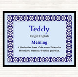 Teddy Name Meaning Placemat Blue