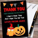 Owl & Pumpkin Scary Halloween Party Thank You Cards