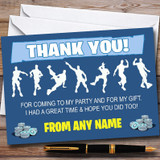 Blue Boys Fortnite Dances Customised Children's Birthday Party Thank You Cards