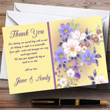 Yellow Lilac Floral Vintage Customised Wedding Thank You Cards