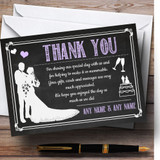 Chalkboard Lilac Customised Wedding Thank You Cards