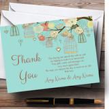 Vintage Shabby Chic Birdcage Turquoise Customised Wedding Thank You Cards