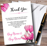 Watercolour Pink Magnolias Customised Wedding Thank You Cards