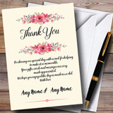 Watercolour Pink Floral Rustic Customised Wedding Thank You Cards
