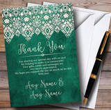 Vintage Teal Green Old Paper & Vintage Lace Effect Customised Thank You Cards