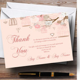 Coral Peach Vintage Birdcage Customised Wedding Thank You Cards