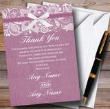 Vintage Plum Purple Burlap & Lace Customised Wedding Thank You Cards