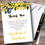 Watercolour Black & Yellow Floral Header Customised Wedding Thank You Cards