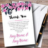 Watercolour Black & Dusty Pink Floral Header Customised Thank You Cards