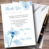 Beautiful Powder Baby Blue Watercolour Flowers Customised Thank You Cards