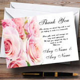 Gorgeous Pastel Pink Wet Roses Customised Wedding Thank You Cards