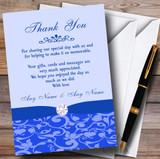 Cobalt Blue Vintage Floral Damask Diamante Customised Wedding Thank You Cards