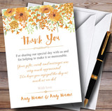 Watercolour Floral Orange Customised Wedding Thank You Cards